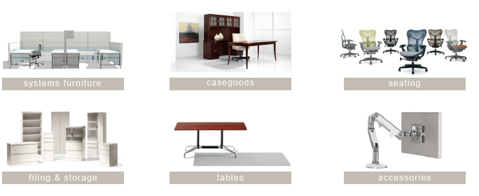 systems furniture, seating, casegoods, filing and storage, tables, and computer and furniture accessories