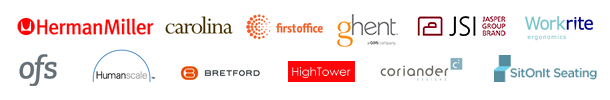 herman miller, workrite, ofs, first office, humanscale, sitonit, JSI, ghent, hightower, coriander, carolina