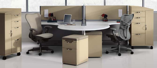 Office World's Filing and Storage - Herman Miller Meridian Mobile Storagein Ethospace Environment